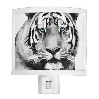 Tiger Black and White Blue eyes Night Lite