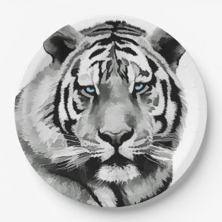 Tiger Black and White Blue eyes Paper Plate
