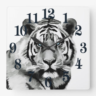 Tiger Black and White Blue eyes Square Wall Clock