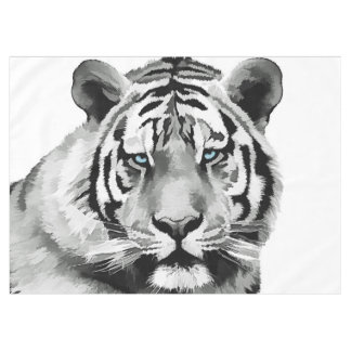 Tiger Black and White Blue eyes Tablecloth