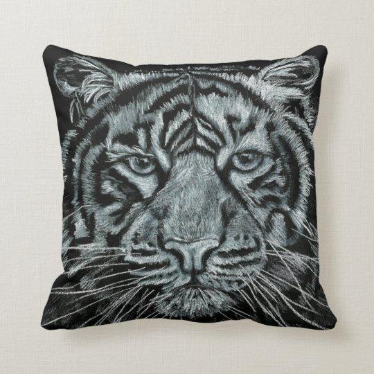 Tiger black and white cushion. throw pillow