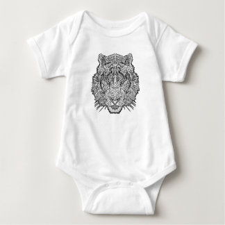 Tiger - Black and White Illustration - Coloring in Baby Bodysuit