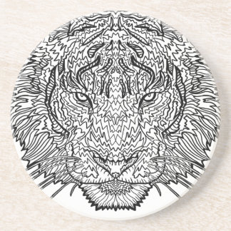 Tiger - Black and White Illustration - Coloring in Coaster