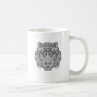 Tiger - Black and White Illustration - Coloring in Coffee Mug