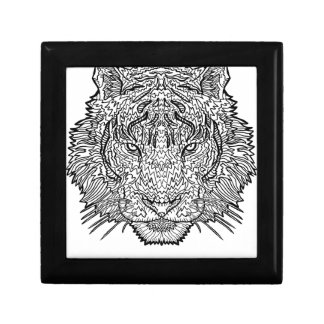 Tiger - Black and White Illustration - Coloring in Gift Box