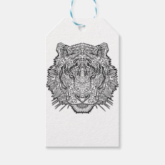 Tiger - Black and White Illustration - Coloring in Gift Tags
