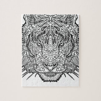 Tiger - Black and White Illustration - Coloring in Jigsaw Puzzle