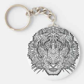 Tiger - Black and White Illustration - Coloring in Keychain