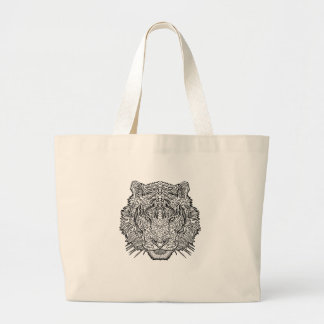 Tiger - Black and White Illustration - Coloring in Large Tote Bag