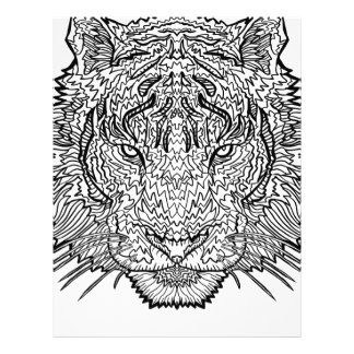 Tiger - Black and White Illustration - Coloring in Letterhead