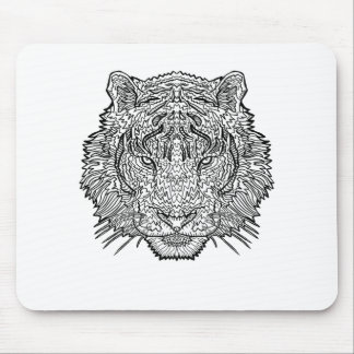 Tiger - Black and White Illustration - Coloring in Mouse Pad