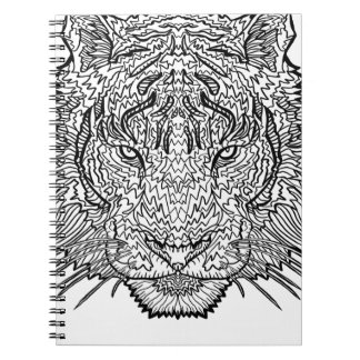 Tiger - Black and White Illustration - Coloring in Notebook