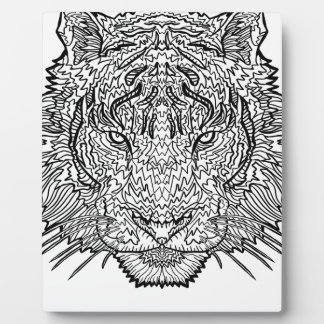 Tiger - Black and White Illustration - Coloring in Plaque