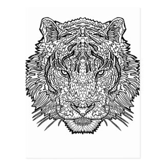 Tiger - Black and White Illustration - Coloring in Postcard