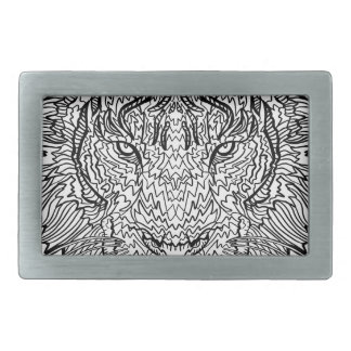 Tiger - Black and White Illustration - Coloring in Rectangular Belt Buckles