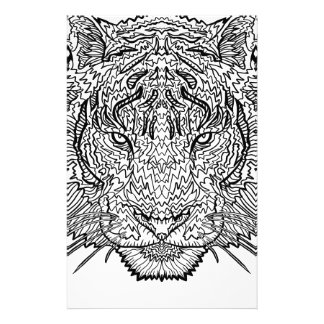 Tiger - Black and White Illustration - Coloring in Stationery