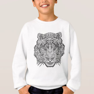 Tiger - Black and White Illustration - Coloring in Sweatshirt