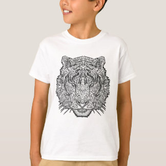 Tiger - Black and White Illustration - Coloring in T-Shirt