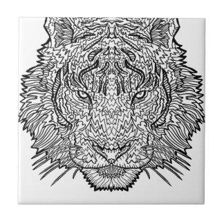 Tiger - Black and White Illustration - Coloring in Tile