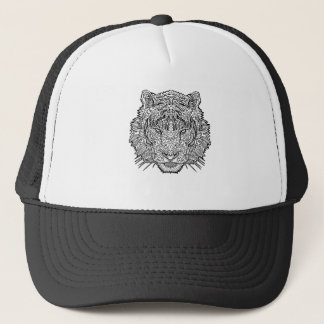 Tiger - Black and White Illustration - Coloring in Trucker Hat