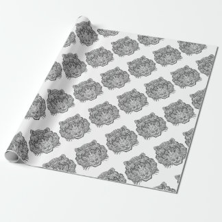 Tiger - Black and White Illustration - Coloring in Wrapping Paper