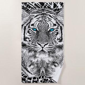 Tiger Blue Eyes Decor on a Beach Towel