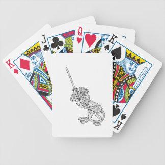 Tiger Brandishing Katana Mandala Bicycle Playing Cards