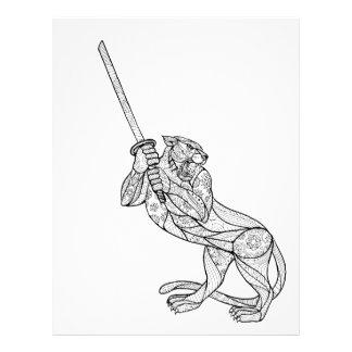 Tiger Brandishing Katana Mandala Letterhead