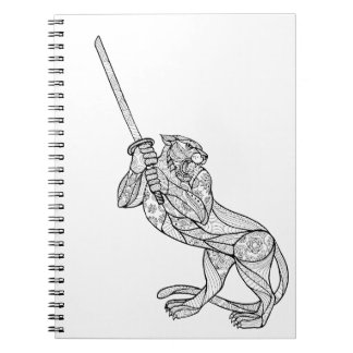 Tiger Brandishing Katana Mandala Notebook