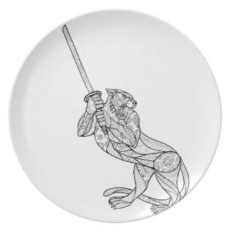 Tiger Brandishing Katana Mandala Plate