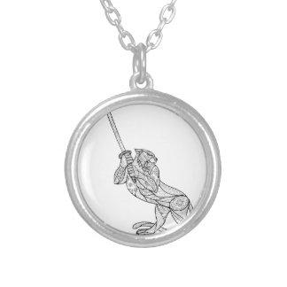 Tiger Brandishing Katana Mandala Silver Plated Necklace