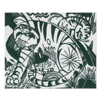 Tiger by Franz Marc, Black and White Fine Art Poster