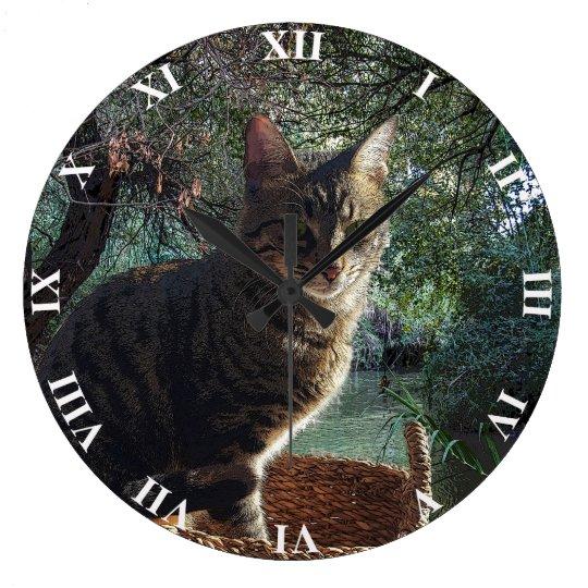 Tiger Cat In Basket Swimming In Mountain River Clocks