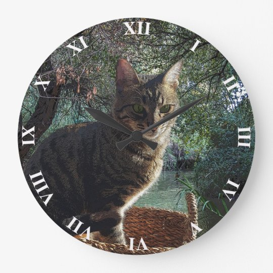 Tiger Cat In Basket Swimming In Mountain River Large Clock
