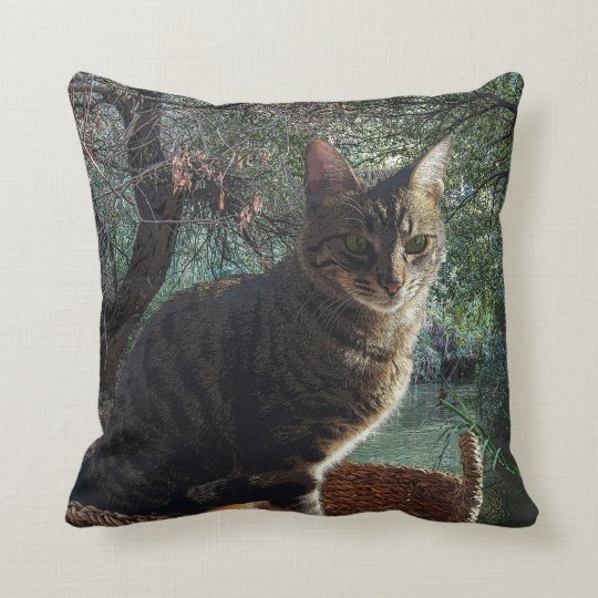 Tiger Cat In Basket Swimming In Mountain River Throw Pillow