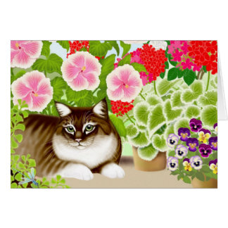 Tiger Cat in Garden Jungle Greeting Card