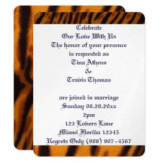 "Tiger Cat Stripes Love Wedding Bride Groom Peace 4.25"" X 5.5"" Invitation Card"