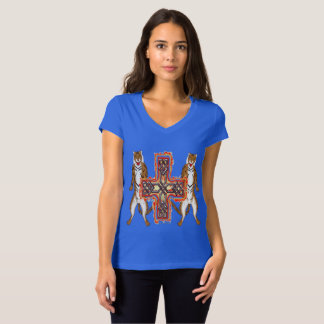 Tiger Celt Cross Ladies V-Neck Jersey T-Shirt