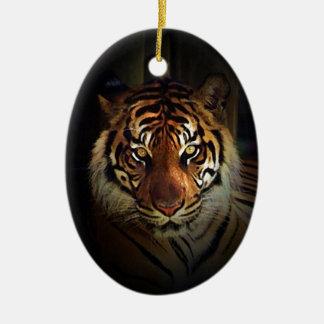 Tiger Ceramic Oval Ornament
