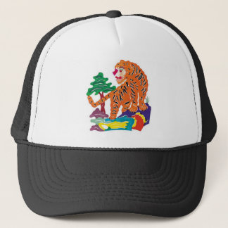 Tiger Chinese Paper-cut Art Work Trucker Hat