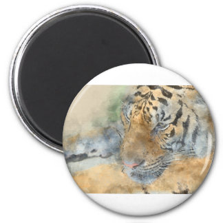 Tiger Close Up in Watercolor 2 Inch Round Magnet