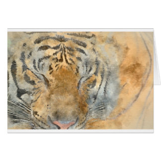 Tiger Close Up in Watercolor Card