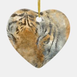 Tiger Close Up in Watercolor Ceramic Heart Ornament