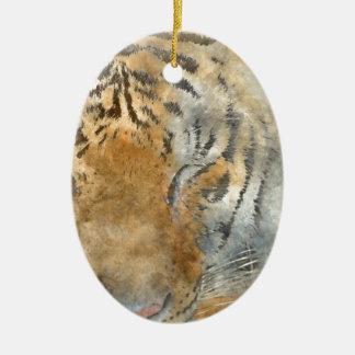 Tiger Close Up in Watercolor Ceramic Oval Ornament
