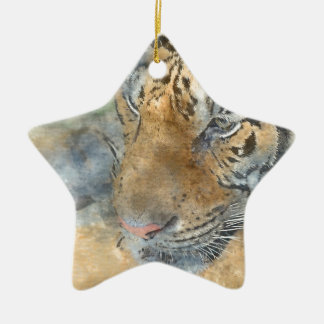 Tiger Close Up in Watercolor Ceramic Star Ornament