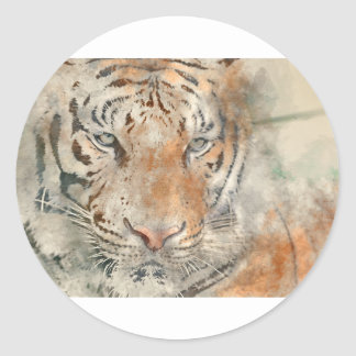 Tiger Close Up in Watercolor Classic Round Sticker