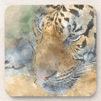 Tiger Close Up in Watercolor Coaster