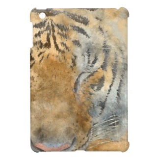 Tiger Close Up in Watercolor Cover For The iPad Mini