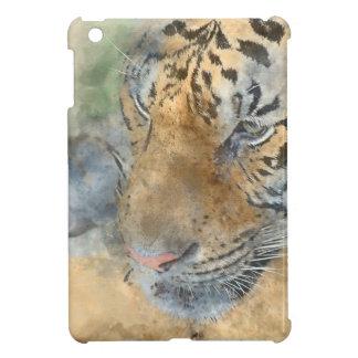 Tiger Close Up in Watercolor iPad Mini Cover