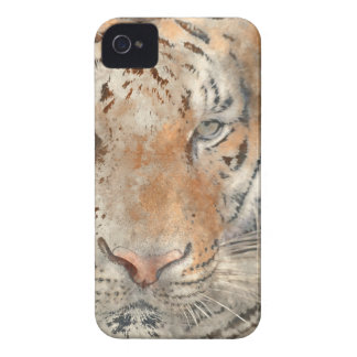 Tiger Close Up in Watercolor iPhone 4 Case